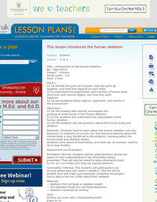 Introduction to the Human Skeleton Science Lesson Plan Lesson Plan