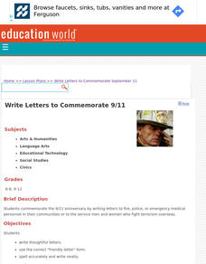 Write Letters to Commemorate 9/11 Lesson Plan