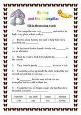 Beebie And the Caterpillar Worksheet