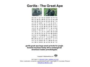 Gorilla Word Search Worksheet