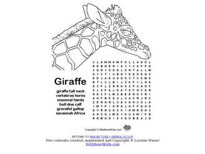 Giraffe Word Search Worksheet