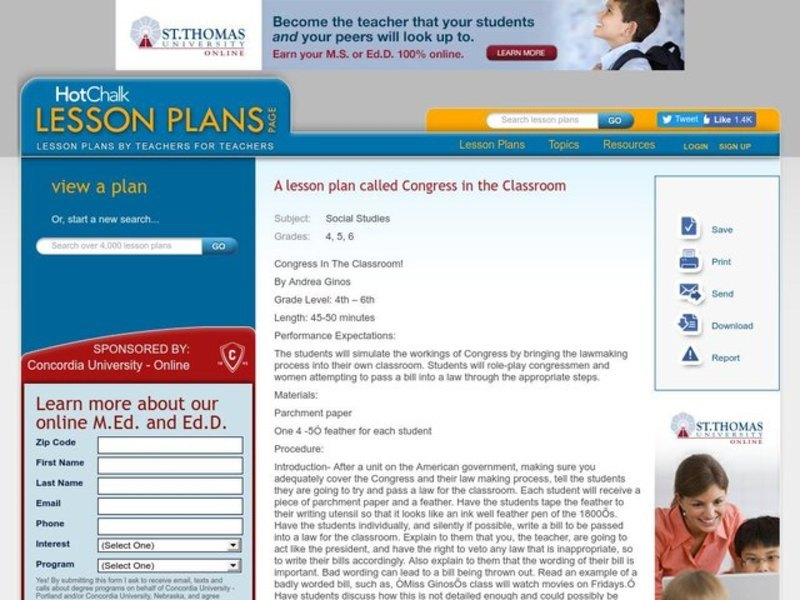 Congress In The Classroom! Lesson Plan