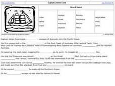 Cloze Activity: Captain James Cook Worksheet