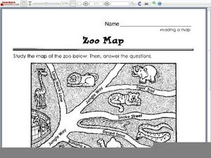 reading a map zoo map worksheet for 1st 2nd grade lesson planet. Black Bedroom Furniture Sets. Home Design Ideas