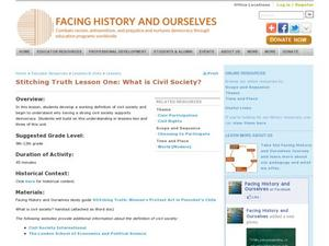Stitching Truth Lesson One:  What is Civil Society? Lesson Plan