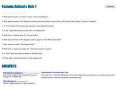 Famous Animals Quiz 1 Worksheet
