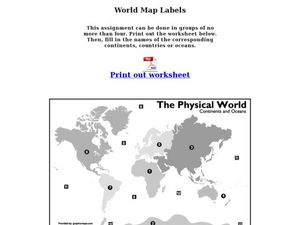 World Map Labels Worksheet