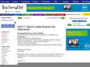 Flowers for Algernon: RAFT Lesson Plan