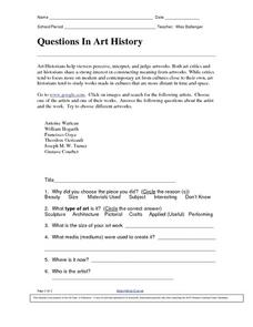 Questions in Art History Worksheet