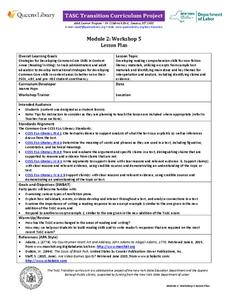 TASC Transition Curriculum: Workshop 5 Lesson Plan