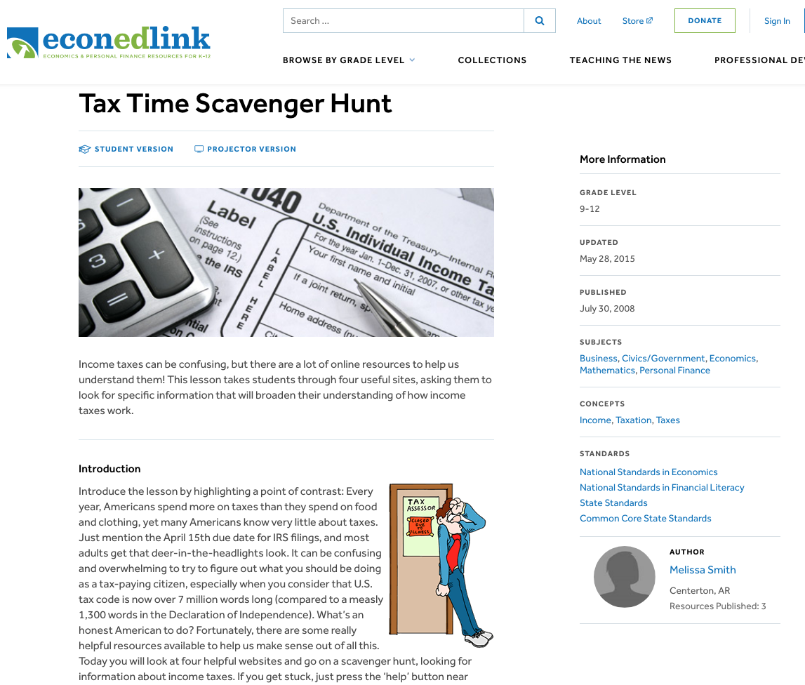 Tax Time Scavenger Hunt Lesson Plan