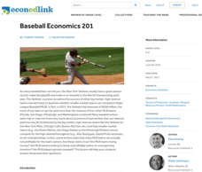 Baseball Economics 201 Lesson Plan