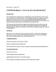 Civil Disobedience: Is it ever ok to break the law? Lesson Plan
