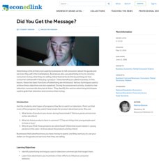 Did You Get the Message? Lesson Plan