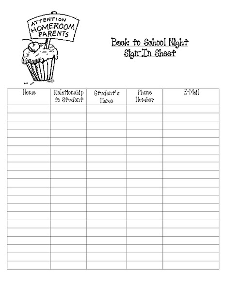 photograph relating to Parent Sign in Sheet Printable referred to as Again in direction of College or university Night time Signal-Inside of Sheet Printables Template for