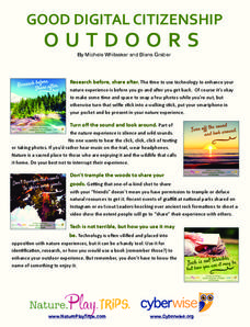 Good Digital Citizenship Outdoors Handouts & Reference