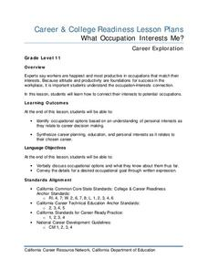 What Occupation Interests Me? Lesson Plan