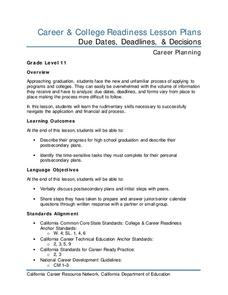 Due Dates, Deadlines, and Decisions Lesson Plan