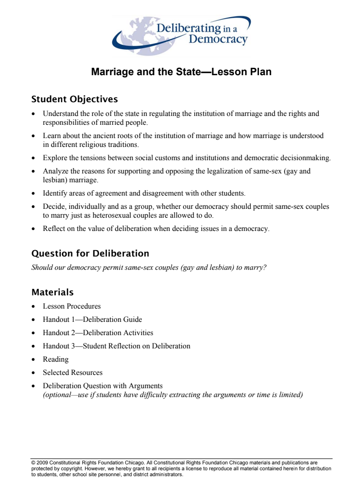 Marriage and the State Lesson Plan