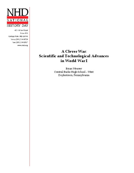 A Clever War: Scientific and Technological Advances in World War I Lesson Plan
