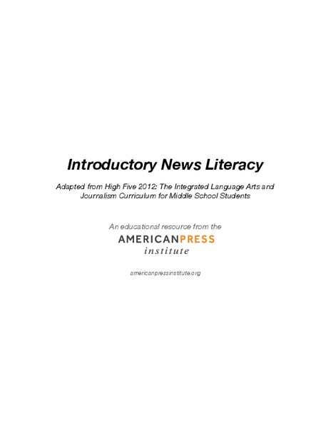 Introductory News Literacy Unit