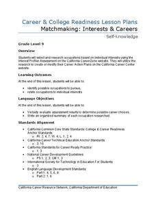 Matchmaking: Interests and Careers Lesson Plan