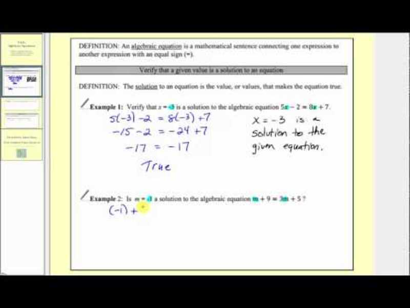 Introduction to Algebraic Equations Video