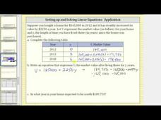 Write a Linear Equation in One Variable App: Increase in Value Video