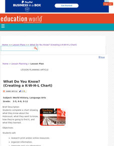 What Do You Know? (Creating a K-W-H-L Chart) Lesson Plan