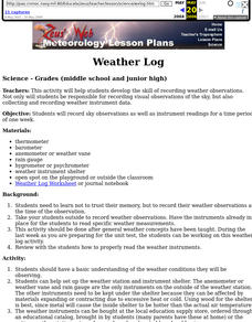 Weather Log Lesson Plan