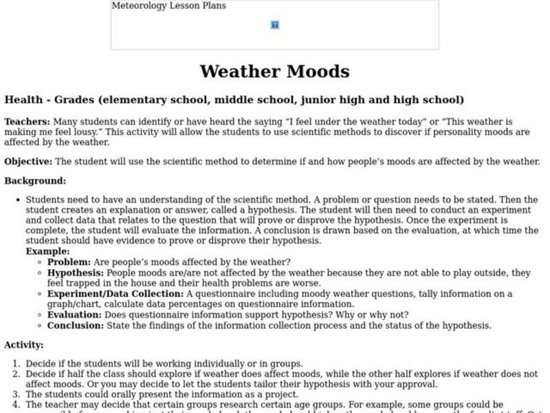 Weather Moods Lesson Plan