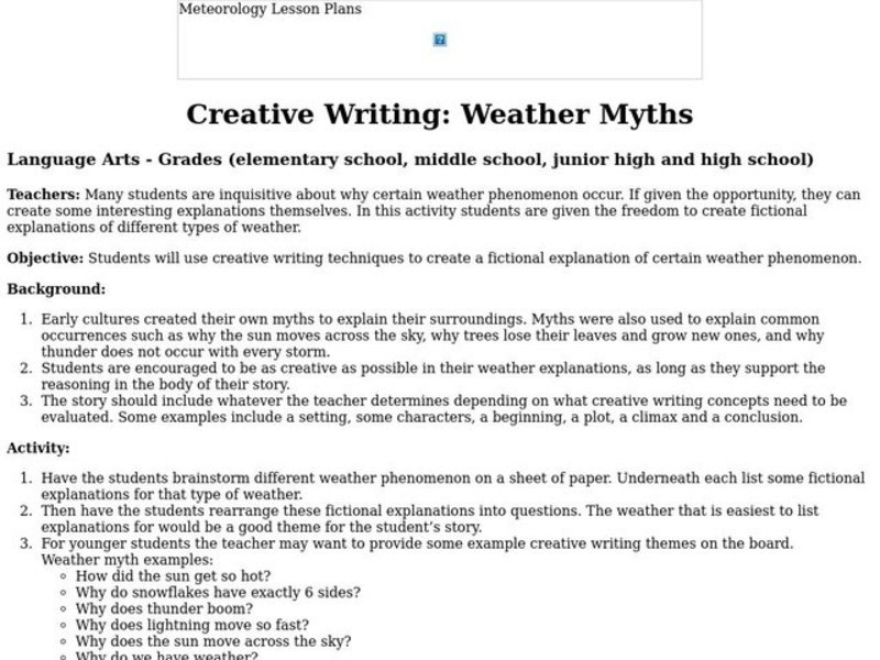 Creative Writing: Weather Myths Lesson Plan