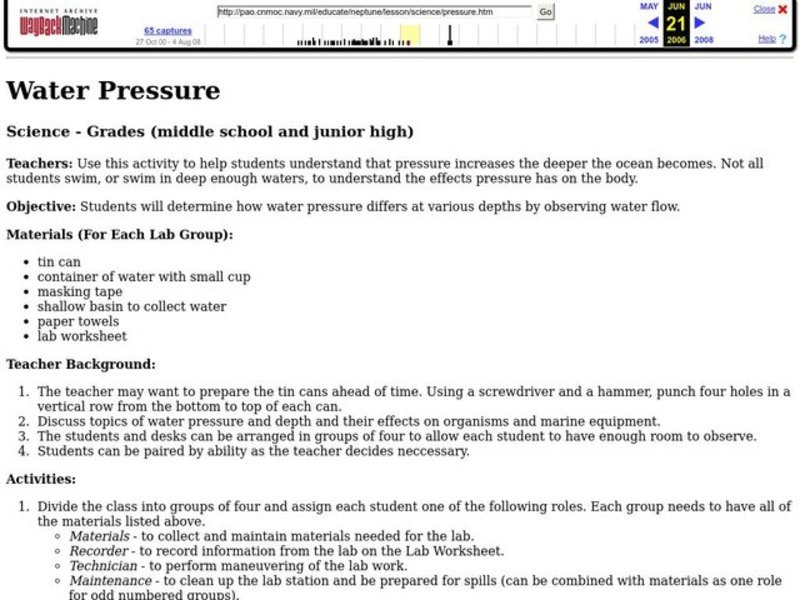 Water Pressure - Observing Water Flow Lesson Plan