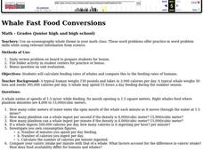 Whale Fast Food Conversions Lesson Plan