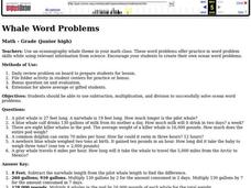 Whale Word Problems Lesson Plan