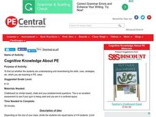 Cognitive Knowledge About PE Lesson Plan
