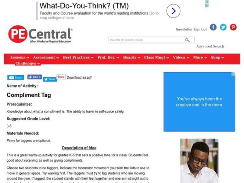 Compliment Tag Lesson Plan