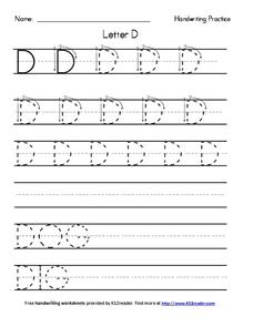 Handwriting Practice: Letter D Worksheet for Pre-K - 2nd ...