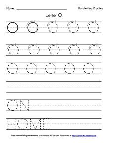 Handwriting Practice: Letter O Worksheet for Pre-K - 2nd ...