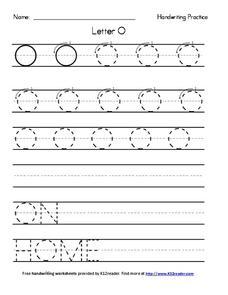 Handwriting Practice: Letter O Worksheet for Pre-K - 2nd Grade ...