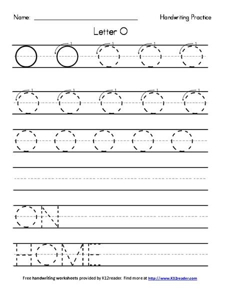 handwriting practice letter o worksheet for pre k 2nd grade lesson planet. Black Bedroom Furniture Sets. Home Design Ideas