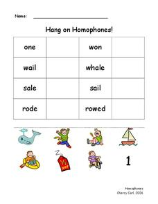Hang on Homophones! Worksheet