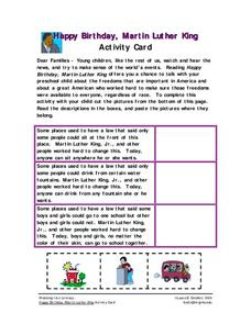 Happy Birthday, Martin Luther King Worksheet for Pre-K ...