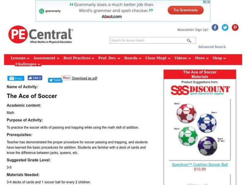 The Ace of Soccer Lesson Plan