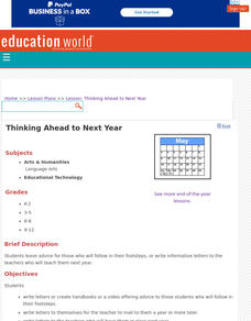 Thinking Ahead to Next Year Lesson Plan