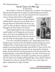 image regarding Civil War Printable Worksheets named Harriet Tubman: Civil War Spy Worksheet for 8th Quality