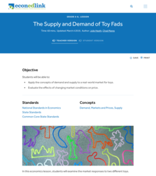 A Lesson on the Supply and Demand of Toy Fads Lesson Plan