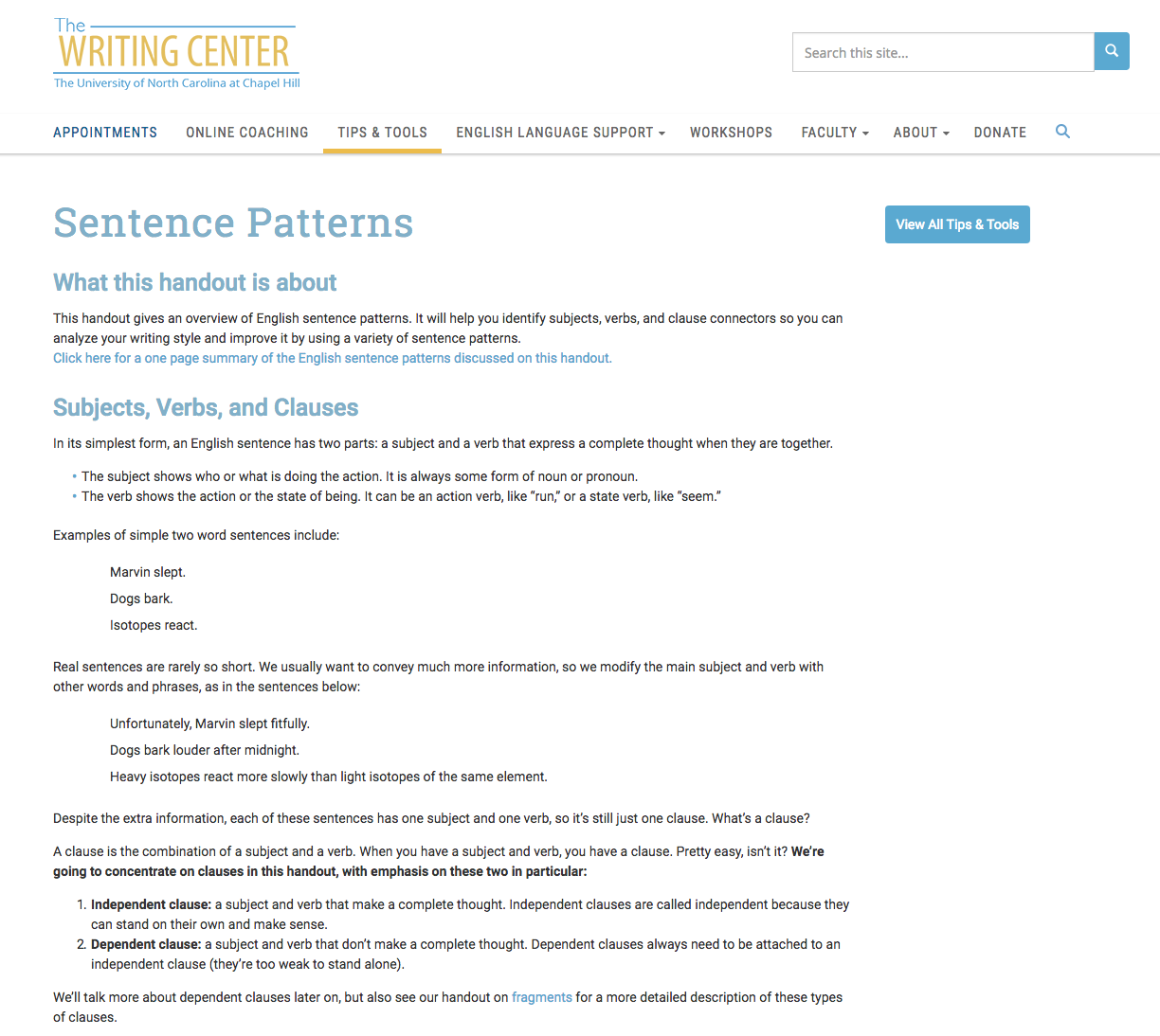 Sentence Patterns Website