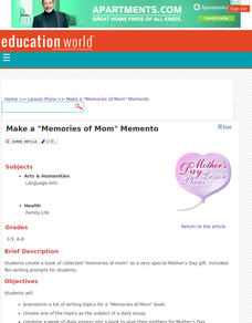 """Memories of Mom"" Memento Lesson Plan"