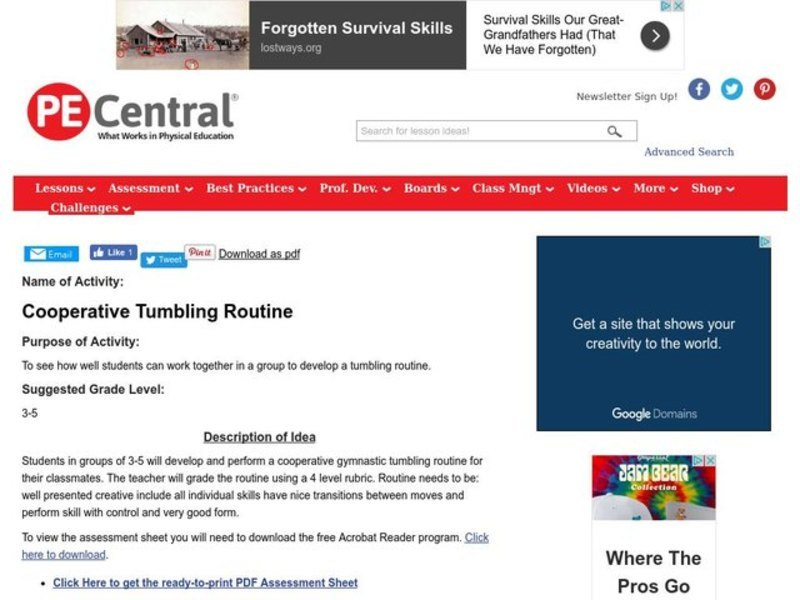 Cooperative Tumbling Routine Lesson Plan